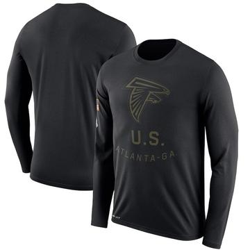 Men's Atlanta Falcons Black 2018 Salute to Service Sideline Performance Long Sleeve T-Shirt - Legend