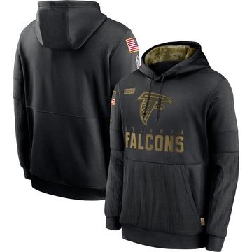 Men's Nike Atlanta Falcons Black 2020 Salute to Service Sideline Performance Pullover Hoodie -