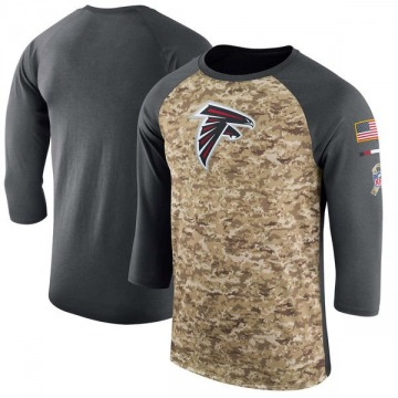 Men's Atlanta Falcons Camo /Anthracite Salute to Service 2017 Sideline Performance Three-Quarter Sleeve T-Shirt - Legend