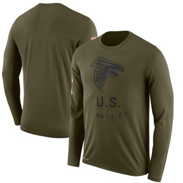 Men's Nike Atlanta Falcons Olive 2018 Salute to Service Sideline Performance Long Sleeve T-Shirt - Legend