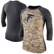 Women's Nike Atlanta Falcons Camo /Charcoal Salute to Service 2017 Three-Quarter Raglan Sleeve T-Shirt - Legend