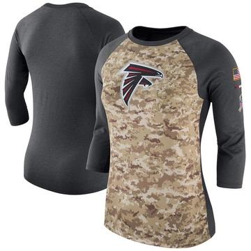 Women's Atlanta Falcons Camo /Charcoal Salute to Service 2017 Three-Quarter Raglan Sleeve T-Shirt - Legend