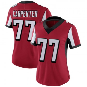 Women's Nike Atlanta Falcons James Carpenter Red 100th Vapor Jersey - Limited