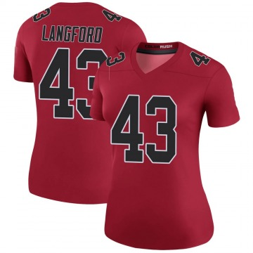 Women's Nike Atlanta Falcons Jeremy Langford Red Color Rush Jersey - Legend