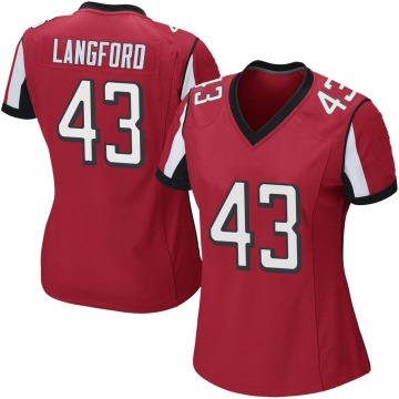 Women's Nike Atlanta Falcons Jeremy Langford Red Team Color Jersey - Game