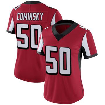 Women's Nike Atlanta Falcons John Cominsky Red 100th Vapor Jersey - Limited