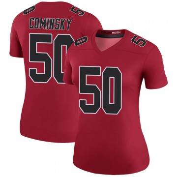 Women's Nike Atlanta Falcons John Cominsky Red Color Rush Jersey - Legend