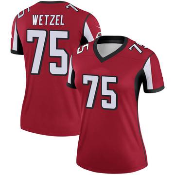 Women's Nike Atlanta Falcons John Wetzel Red Jersey - Legend