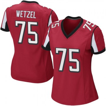 Women's Nike Atlanta Falcons John Wetzel Red Team Color Jersey - Game