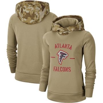 Women's Nike Atlanta Falcons Khaki 2019 Salute to Service Therma Pullover Hoodie -
