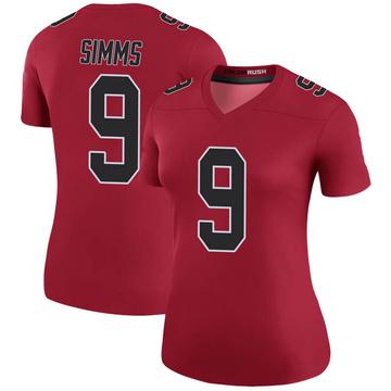 Women's Nike Atlanta Falcons Matt Simms Red Color Rush Jersey - Legend
