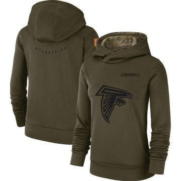Women's Nike Atlanta Falcons Olive 2018 Salute to Service Team Logo Performance Pullover Hoodie -