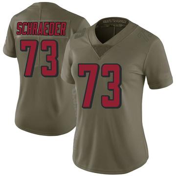 Women's Nike Atlanta Falcons Ryan Schraeder Green 2017 Salute to Service Jersey - Limited