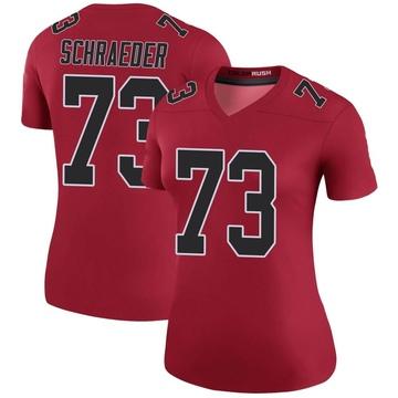 Women's Nike Atlanta Falcons Ryan Schraeder Red Color Rush Jersey - Legend