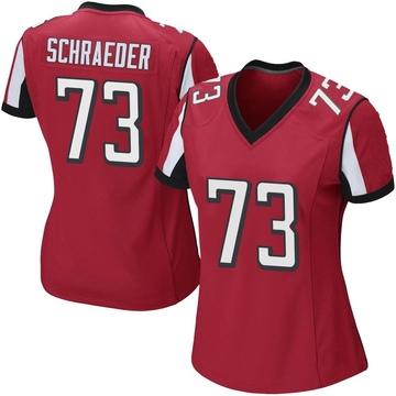 Women's Nike Atlanta Falcons Ryan Schraeder Red Team Color Jersey - Game