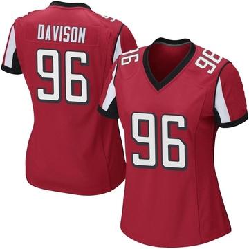 Women's Nike Atlanta Falcons Tyeler Davison Red Team Color Jersey - Game