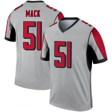 Youth Nike Atlanta Falcons Alex Mack Inverted Silver Jersey - Legend