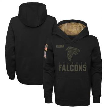 Youth Nike Atlanta Falcons Black 2020 Salute to Service Pullover Performance Hoodie -
