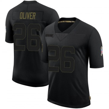 Youth Nike Atlanta Falcons Isaiah Oliver Black 2020 Salute To Service Jersey - Limited