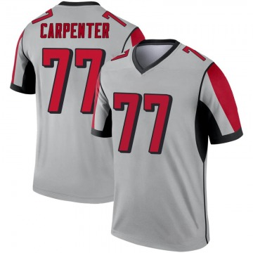 Youth Nike Atlanta Falcons James Carpenter Inverted Silver Jersey - Legend