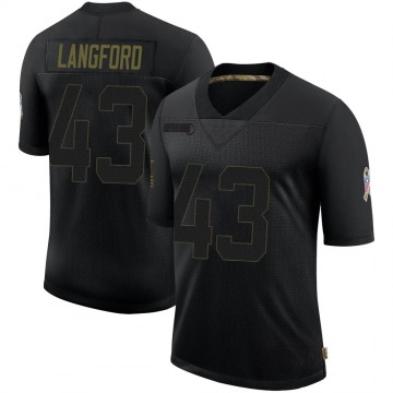 Youth Nike Atlanta Falcons Jeremy Langford Black 2020 Salute To Service Jersey - Limited
