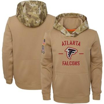 Youth Nike Atlanta Falcons Khaki 2019 Salute to Service Therma Pullover Hoodie -
