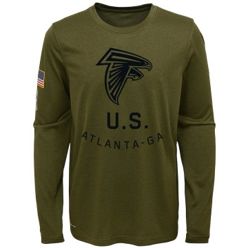 Youth Nike Atlanta Falcons Olive 2018 Salute to Service Performance Long Sleeve T-Shirt - Legend