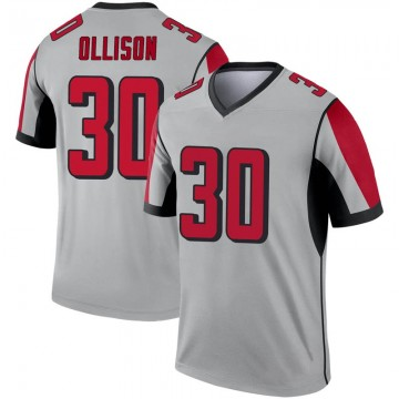 Youth Nike Atlanta Falcons Qadree Ollison Inverted Silver Jersey - Legend